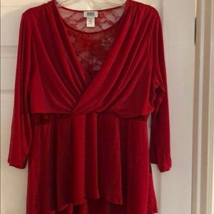 NEW STUNNING Red Top w/Gorgeous Lace Inserts  XL